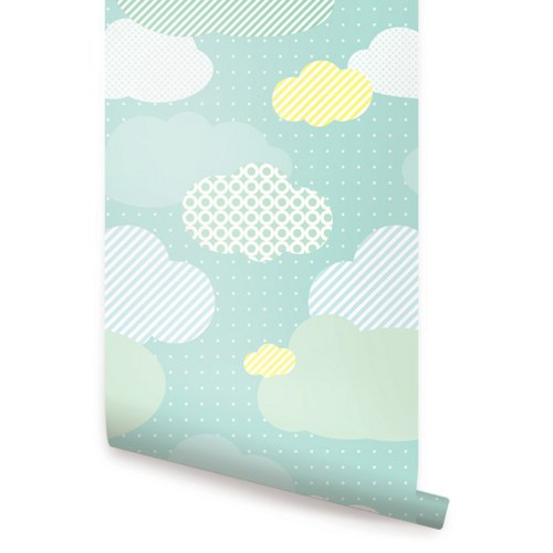 Clouds Mint Peel and Stick Fabric Wallpaper Repositionable 500x500