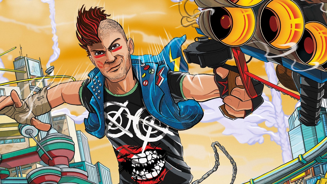 Download wallpaper 1366x768 sunset overdrive insomniac games 1366x768