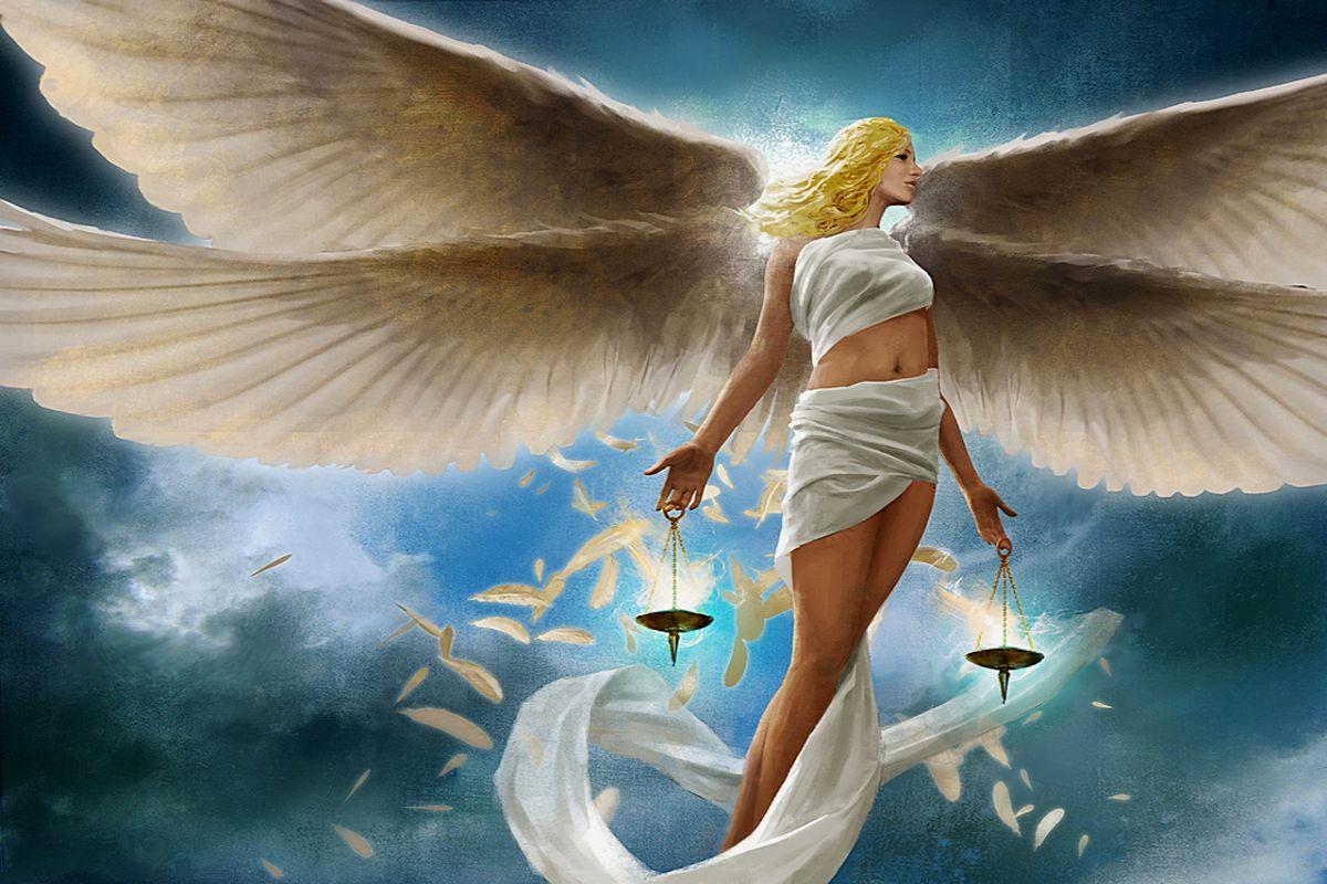 3D Angel of Justice Girl Libra Balanza Balance wallpaper download 1200x800