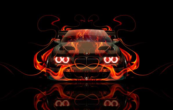 Wallpaper tony kokhan bmw m5 e39 fire car front orange flame 596x380