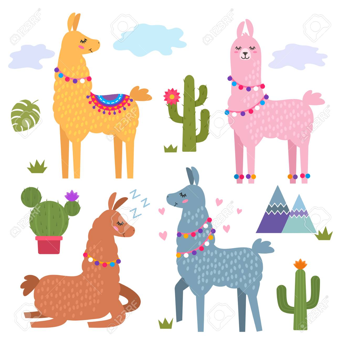 Funny Llama Alpaca With Mountains And Cactus Childrens 1300x1300