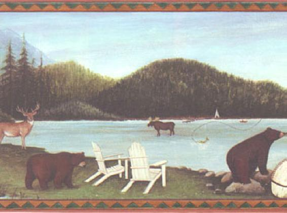 Moose Deer Bear Fishing Cabin Wildlife Lodge Wallpaper Border eBay 566x420