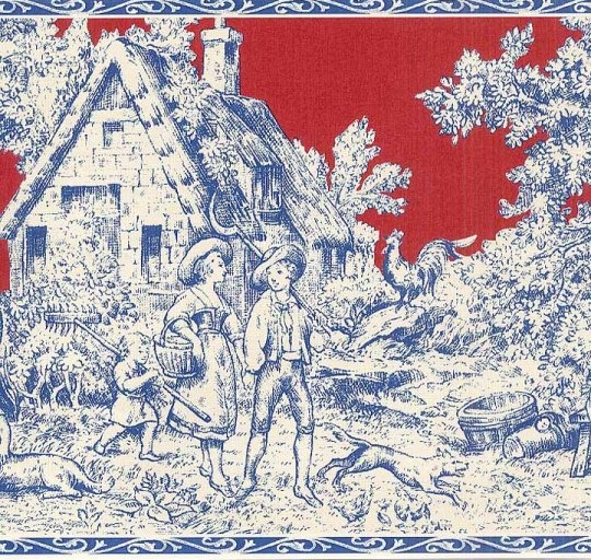 Red Blue French Country Toile Wallpaper Wall Border T742461B 540x512