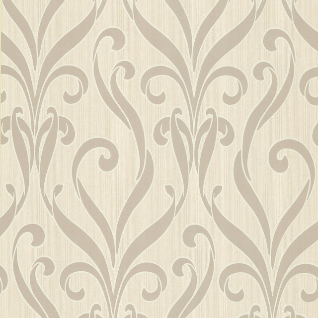 Medusa Taupe Swirl Modern Damask Wallpaper   Contemporary   Wallpaper 640x640