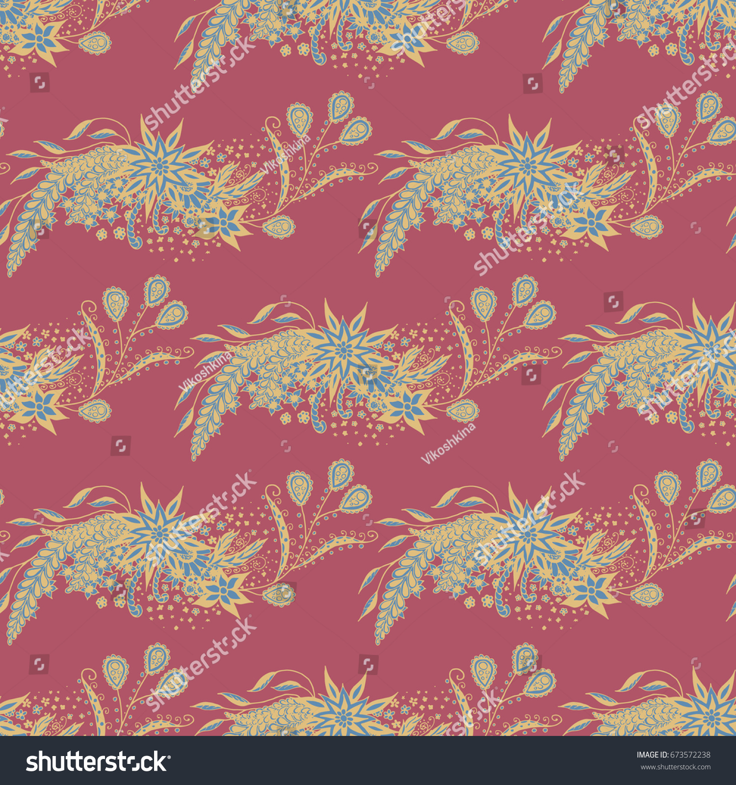 Orient Wallpaper Pattern Seamless Zentangle Calico Stock Vector 1500x1600