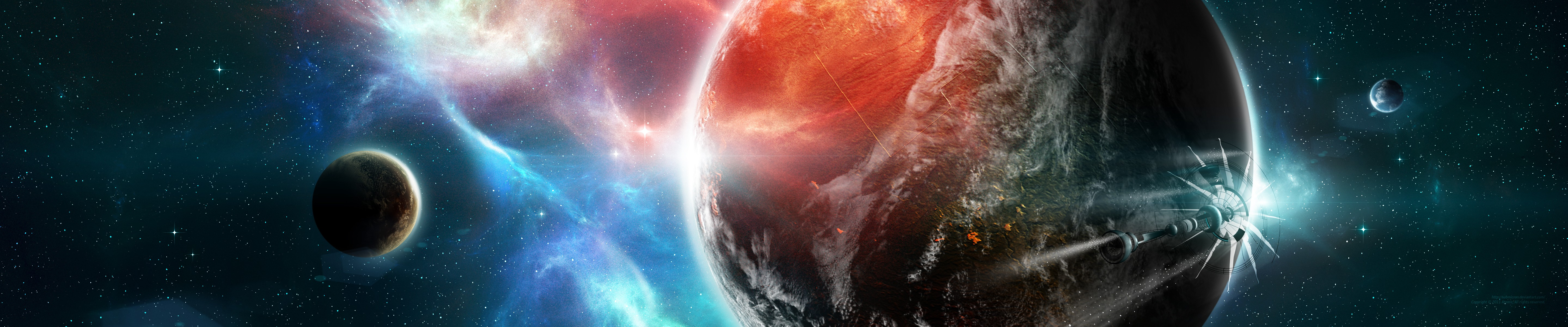 Outer space stars planets dual screen deviantart spaceships artwork 5760x1200