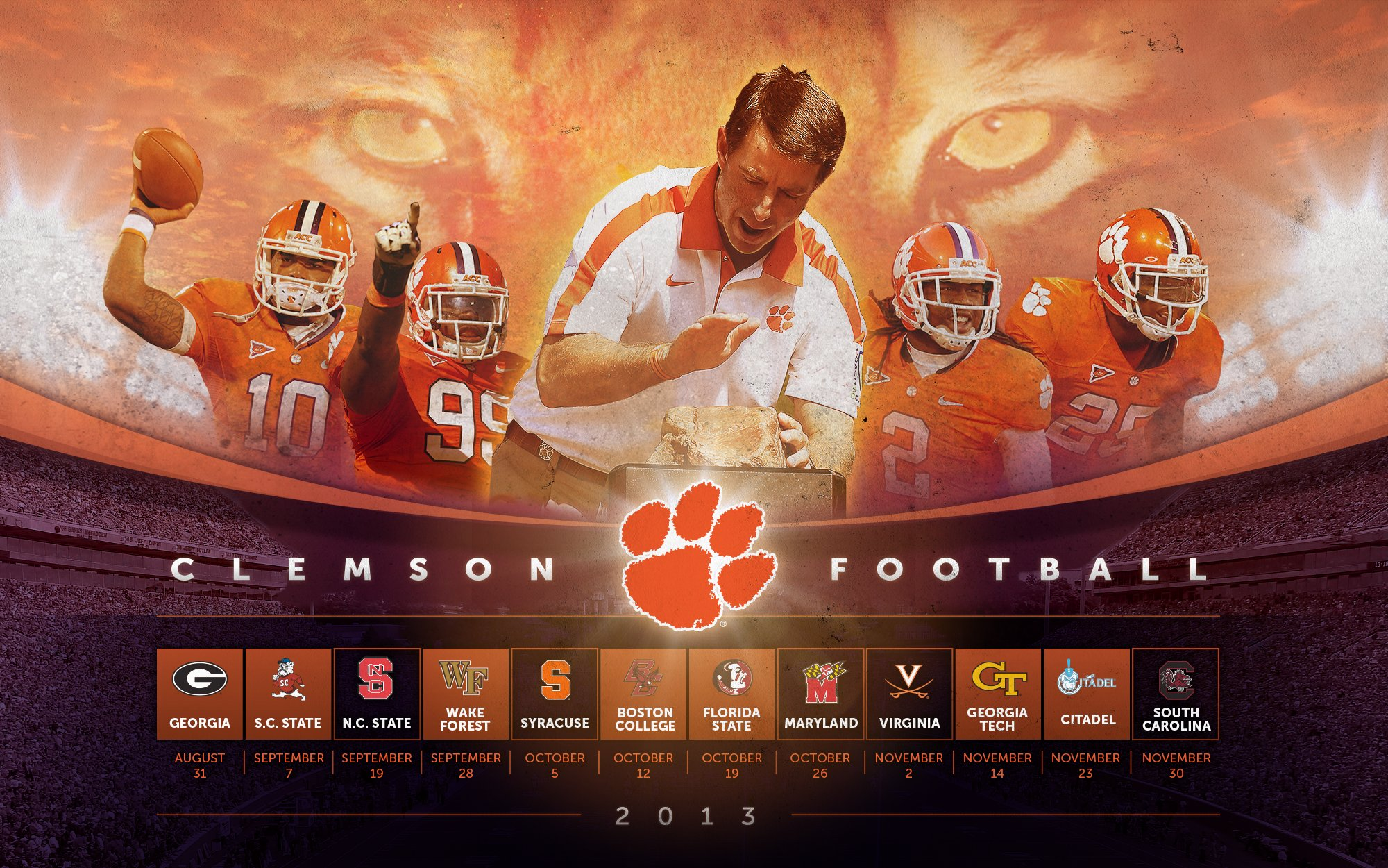 image Clemson Tigers Football PC Android iPhone and iPad Wallpapers 2000x1250