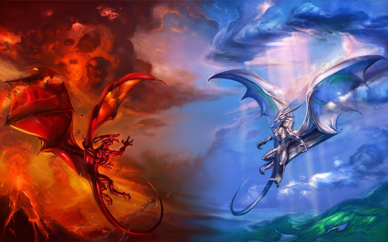 Fire Ice Dragon HD Wallpaper   New HD Wallpapers 2880x1800