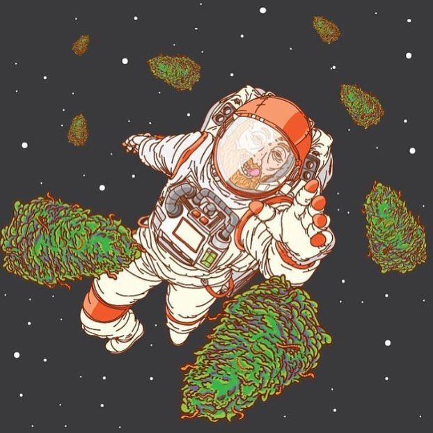 Trippy Weed Art   Stoned Astronaut 420 art Pinterest 622x622
