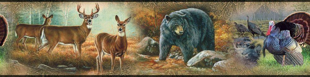 Hunting Deer Bear Wall Border Man Cave Wallpaper Room Decor Peel Stick 1000x250