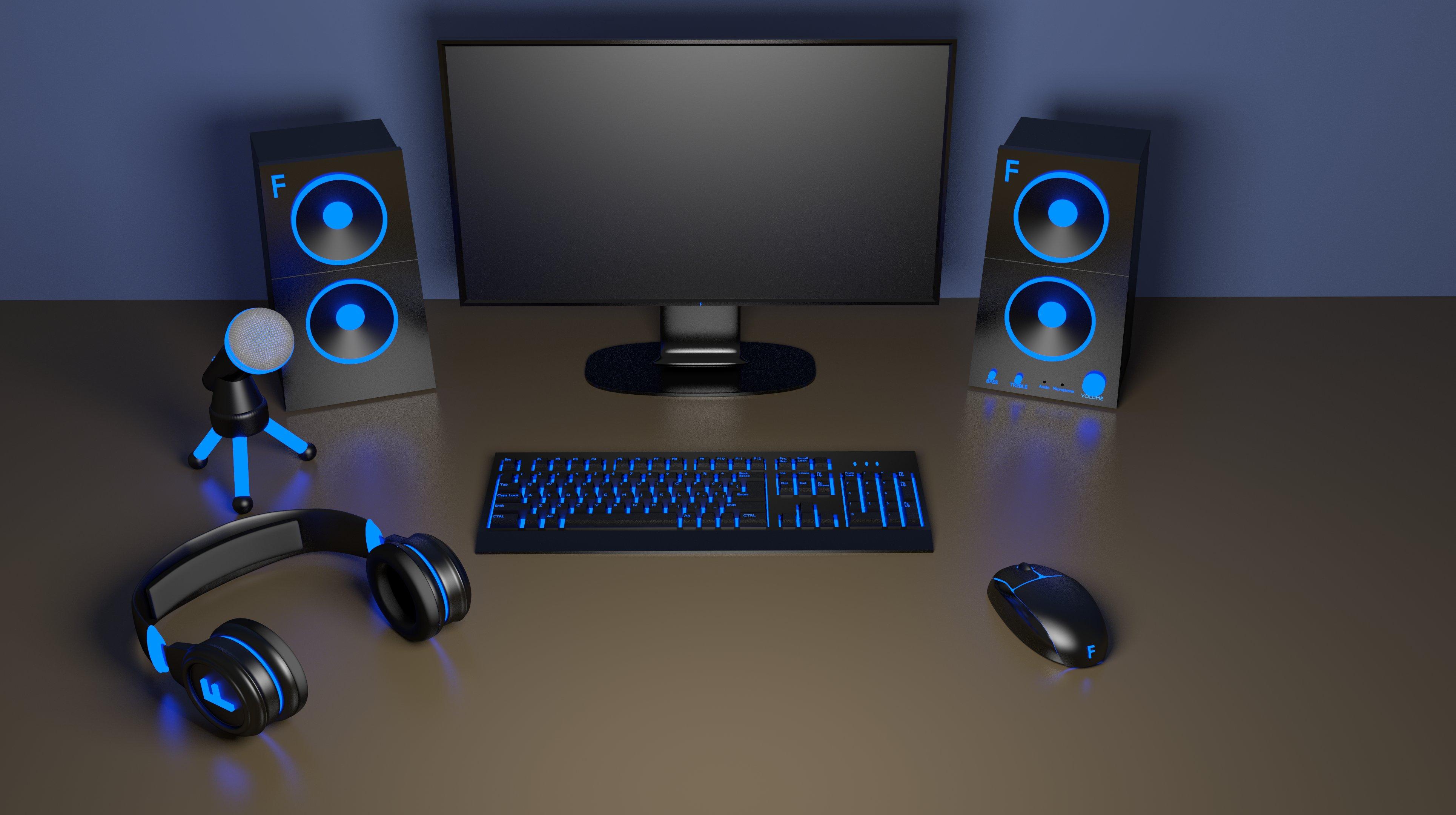 Computer setup headphones mouse keyboard mechanical speakers 3860x2160