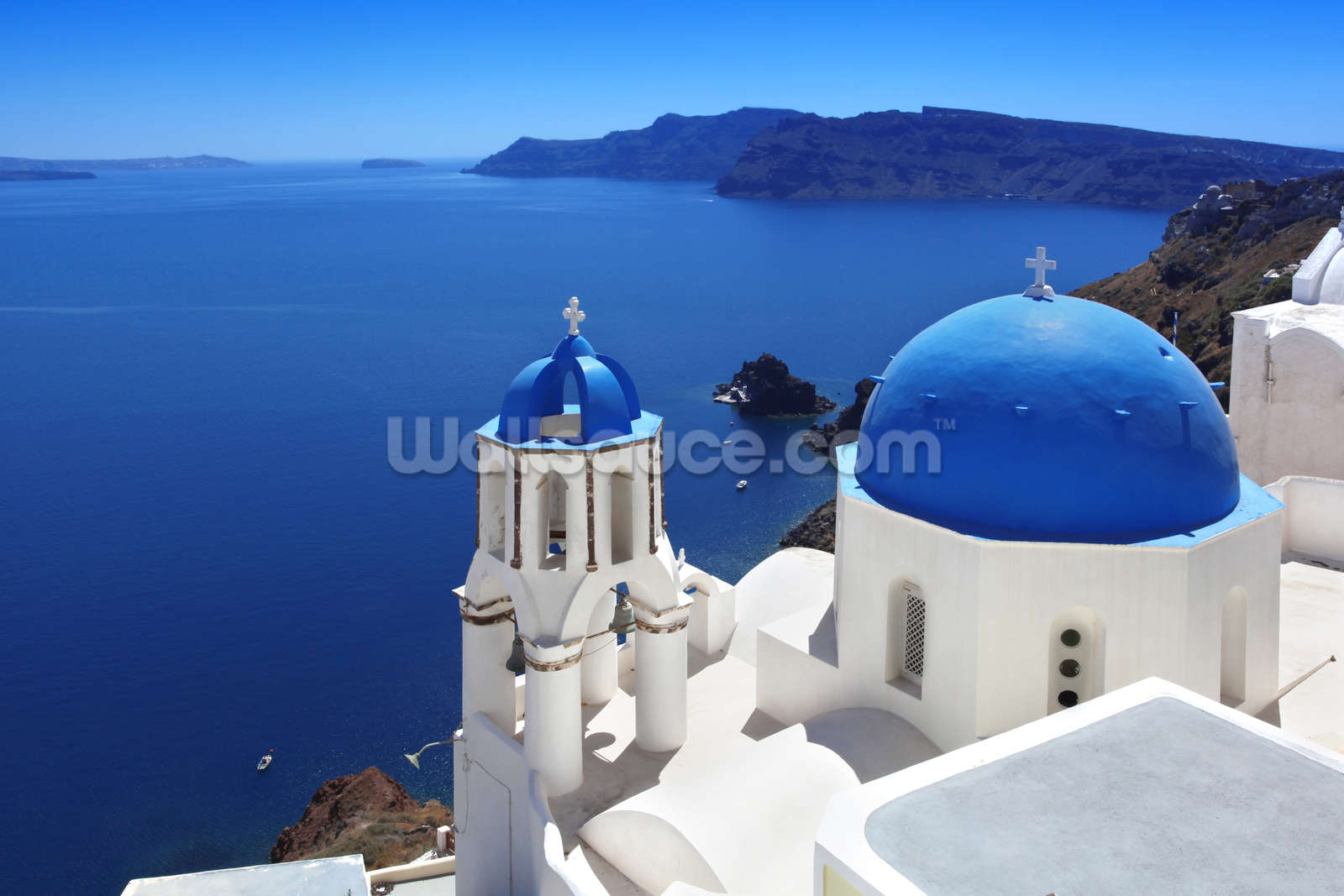 Mural Santorini with Traditional Church in Oia Greece Wallpaper 1600x1067