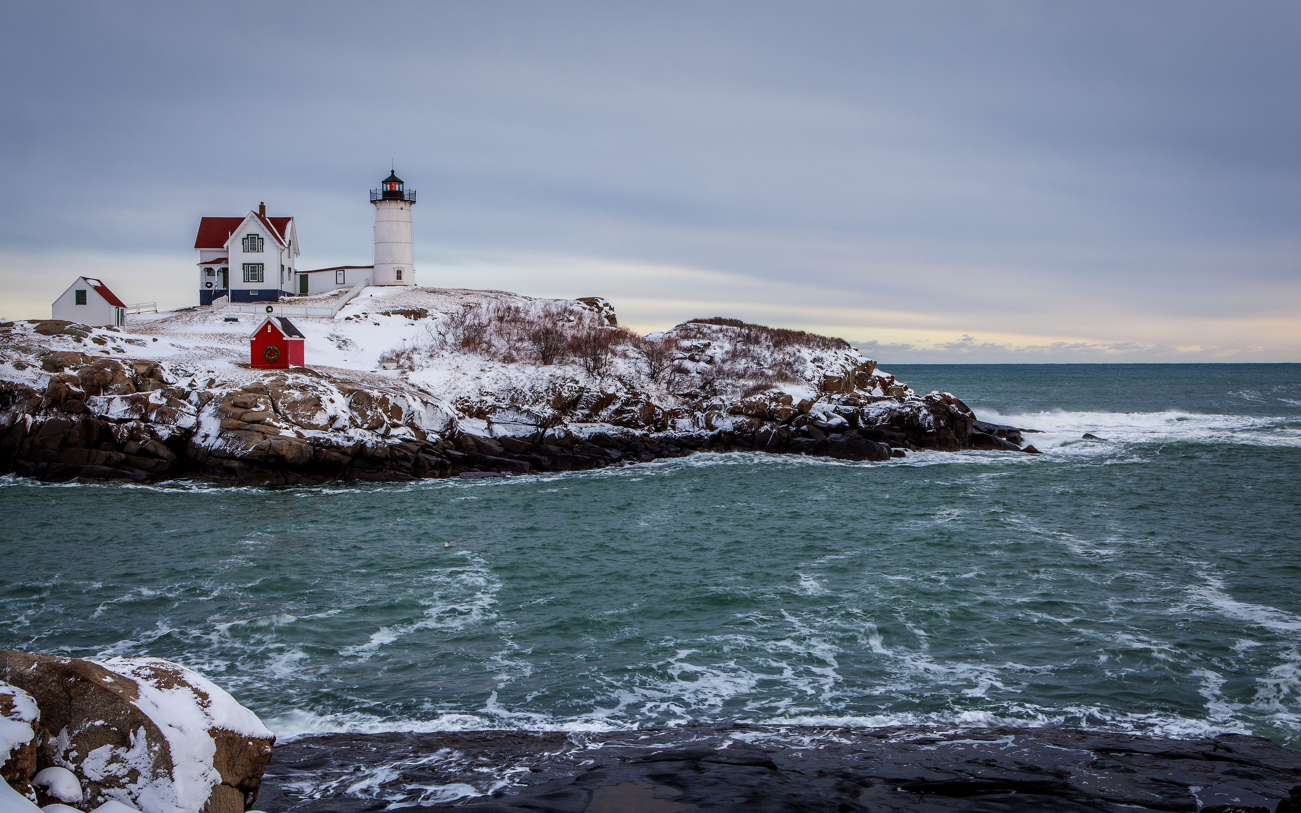 winter the sea the rocky coast the lighthouse landscape wallpaper 2560x1600