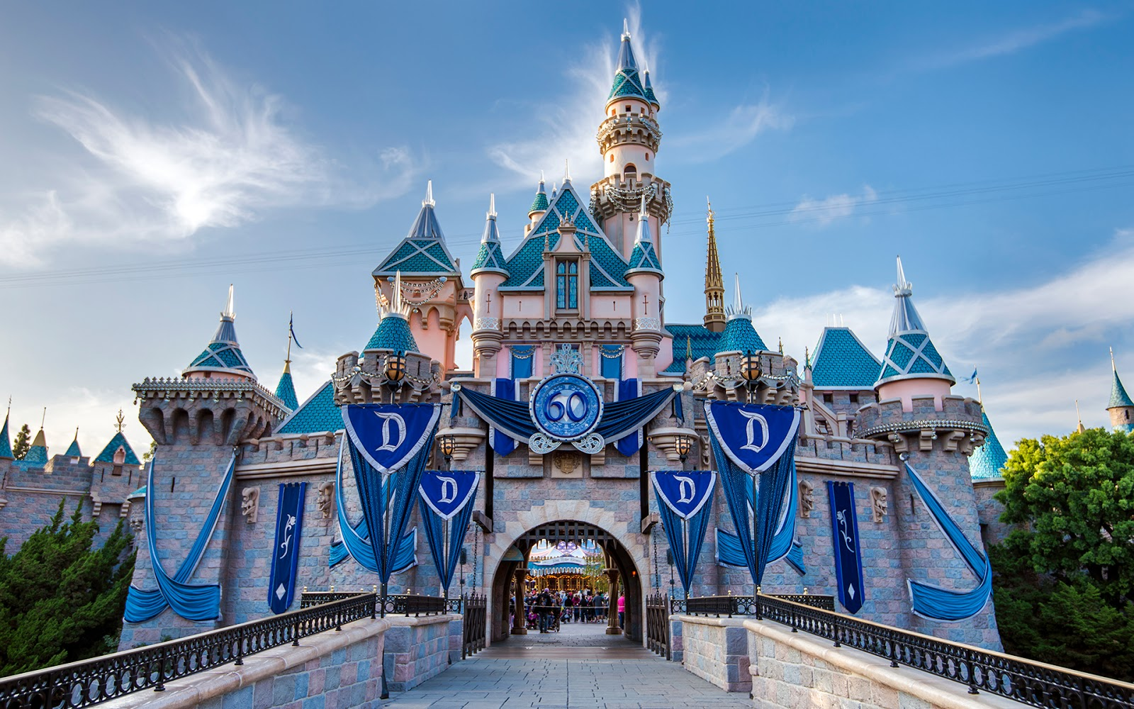 The 60th Anniversary Sleeping Beauty Castle fully decked out in its 1600x1000