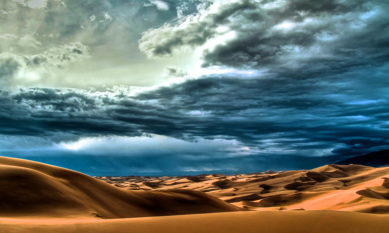 wallpapers Desert Dunes Sun Sky Clouds Nature photo 1280x768 on 1280x768