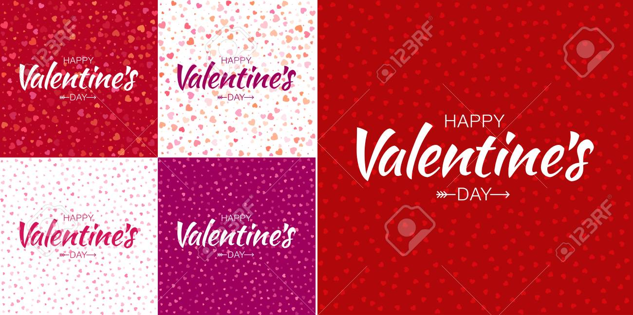 Set Of Valentines Day Card Backgrounds With Colorful Small Hearts 1300x648