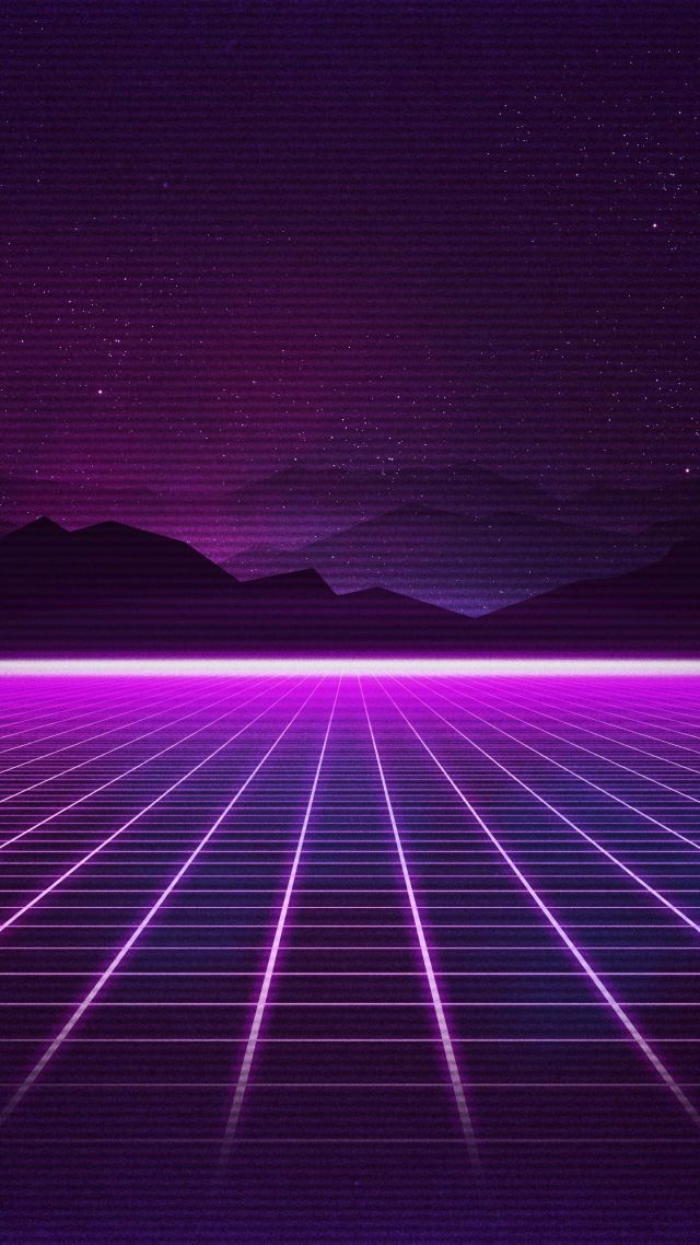 Wallpaper Retrowave Purple lines 4K Art 18921 640x1138