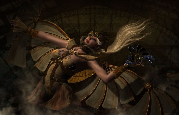 Girl steampunk wings gear art wallpaper 1980x1280 177801 736x476