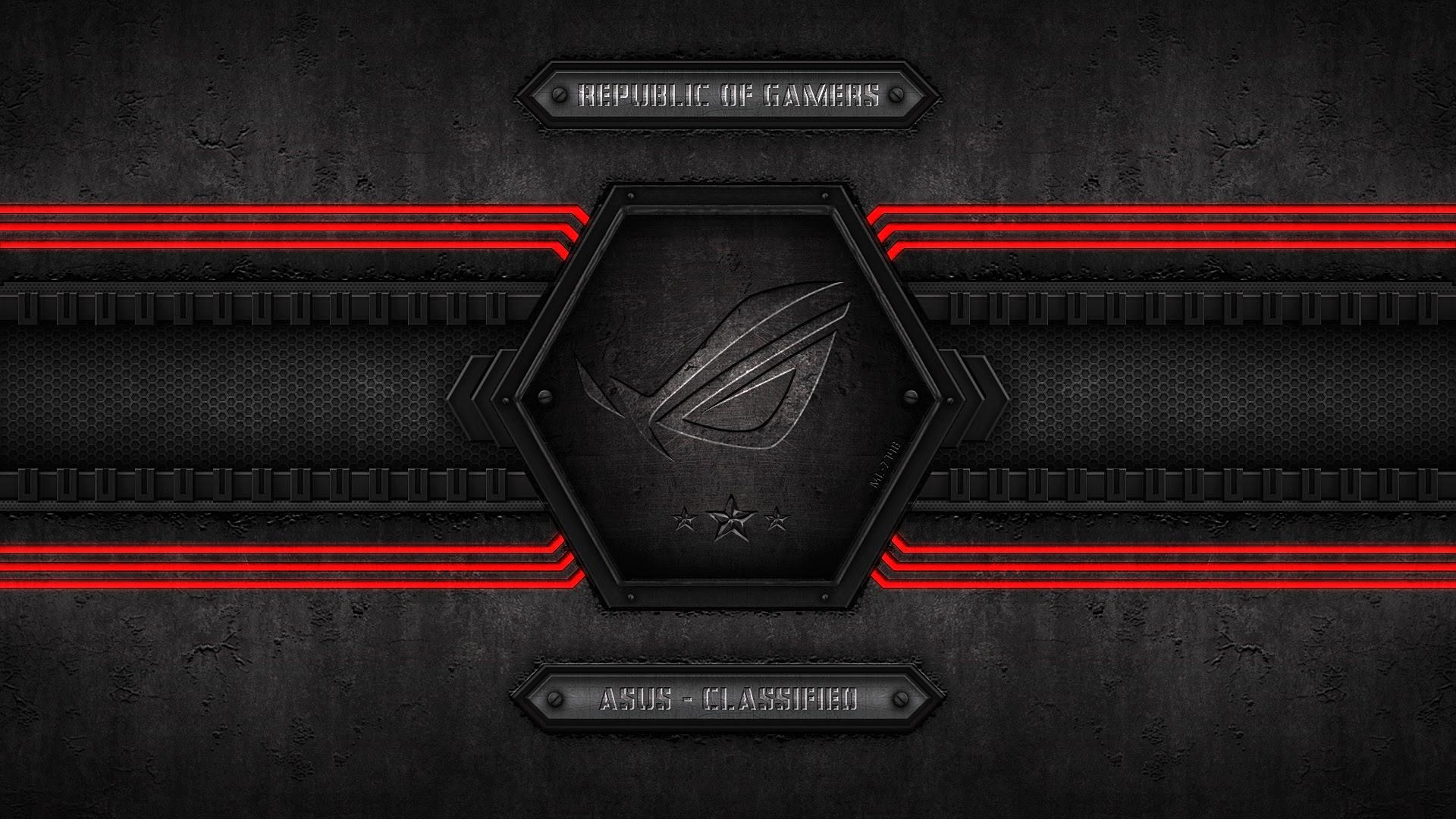 asus rog republic of gamers logo metal background 3 star hd wallpaper 1920x1080