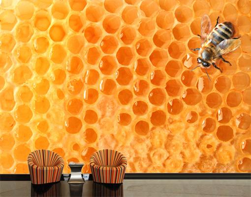 Fleece Wall Mural Honey Bee Wallpaper Wall Art Wall Decor Combs 510x400