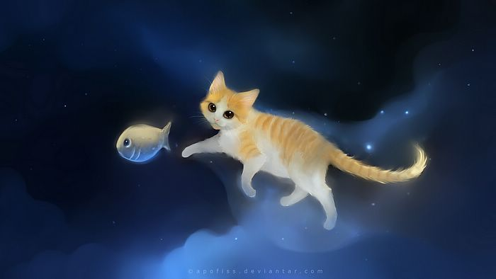 by Apofiss   Chasing my Fish Cute Little Cat Drawings Wallpaper 20 700x394