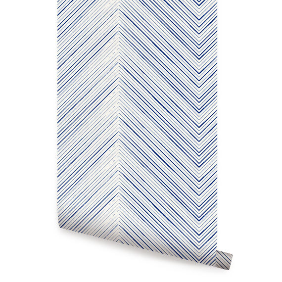 Chevron Lines Blue Peel Stick Fabric Wallpaper Repositionable 570x570