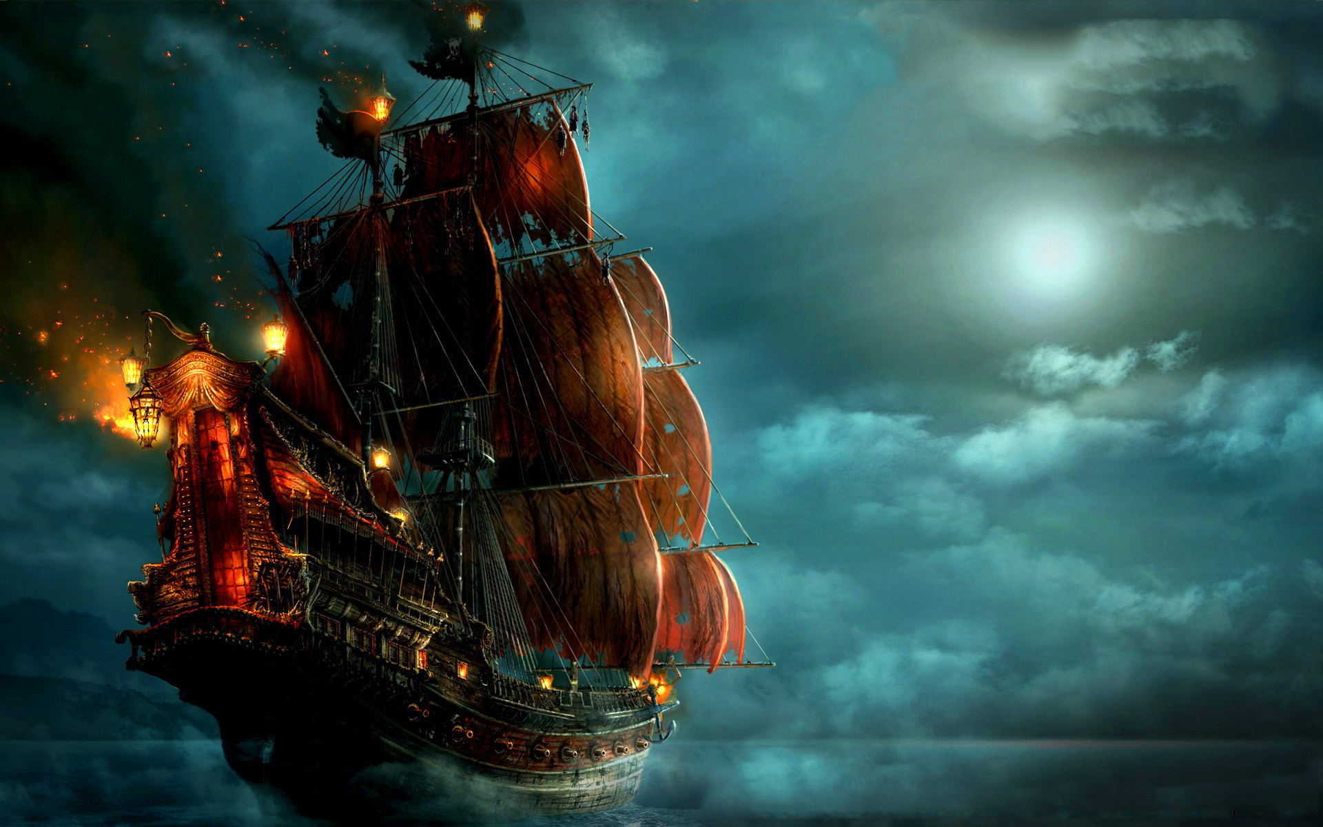 pirate ship sailing Wallpaper Background 29073 1920x1200