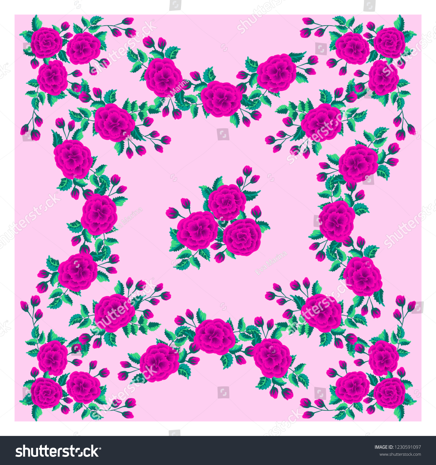 Colorful Beautiful Shawl Scarf Print Flowering Stock Vector 1500x1600