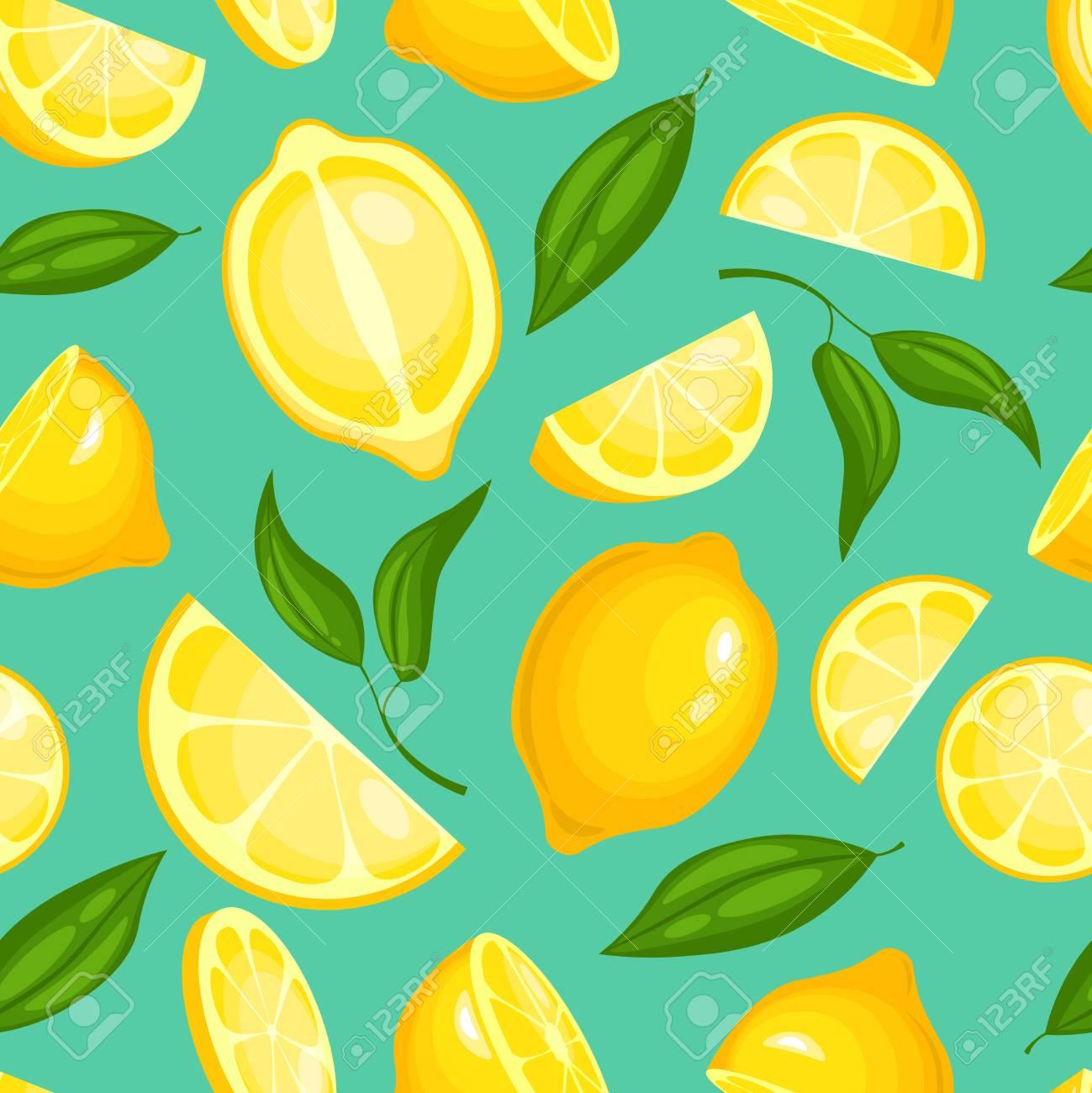 Lemon Pattern Lemonade Exotic Yellow Juicy Fruit With Leaves 1299x1300