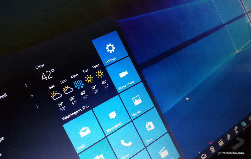 Windows 10 Start menu with default apps 1024x650
