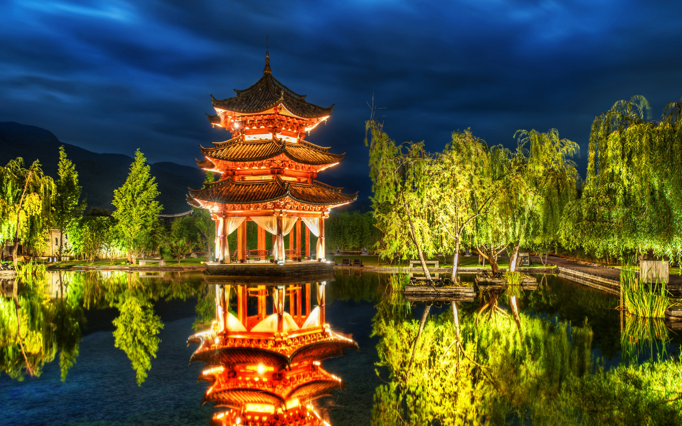 chinese pagoda background wallpaper widescreen walls 2880x1800