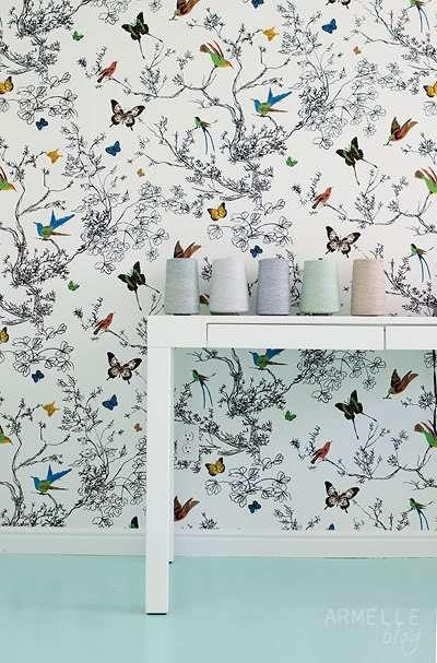 starkbusy for girls room Schumacher Birds and Butterflies Wallpaper 400x607