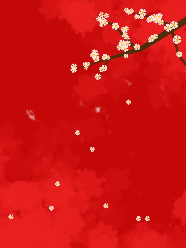 New Year Plum Blossom Festive Red White Background New Year Plum 640x856