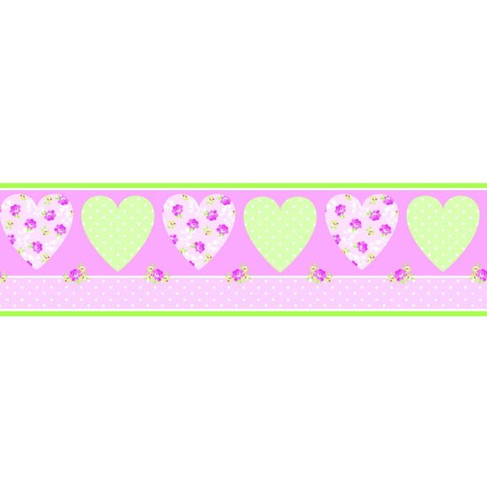 Fine Decor Pretty Flower Childrens Kids Pink Heart Wallpaper Border 700x700