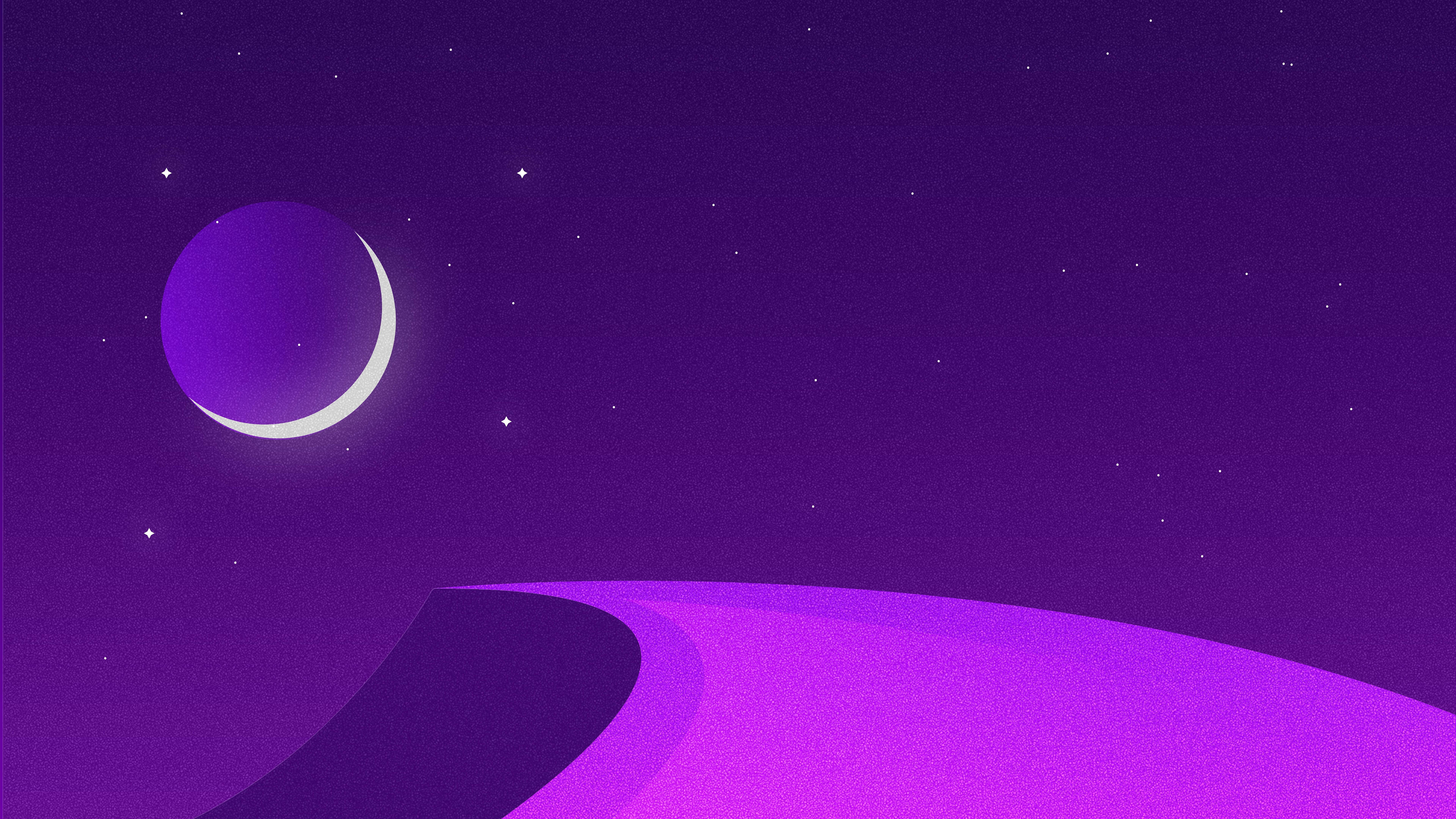Starry Night Purple Desert Minimalist Minimalism 8K 21588 7680x4320