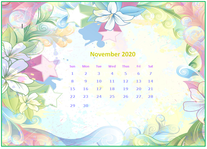 November 2020 Desktop Calendar Wallpapers   Printable 839x603