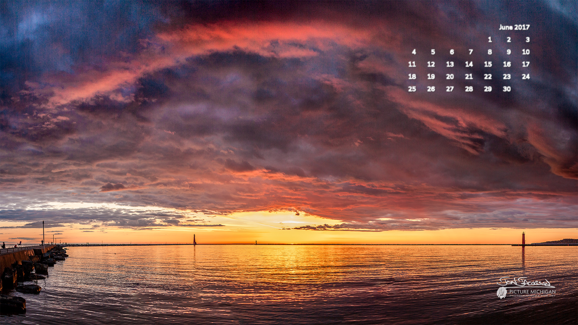 June 2017 Calendar Desktop Wallpaper Sunset over Lake Michigan 1920x1080