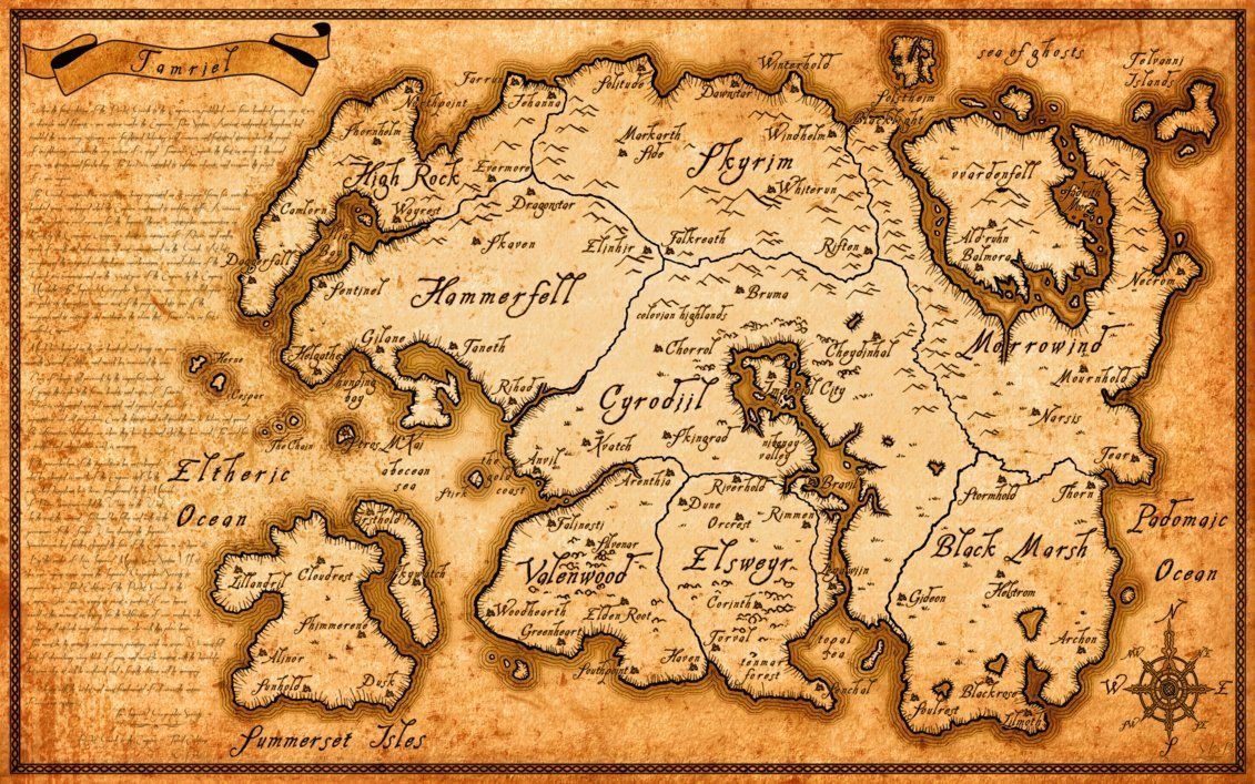 Images For Tamriel Map Wallpaper Nerdy Elder scrolls map 1131x707