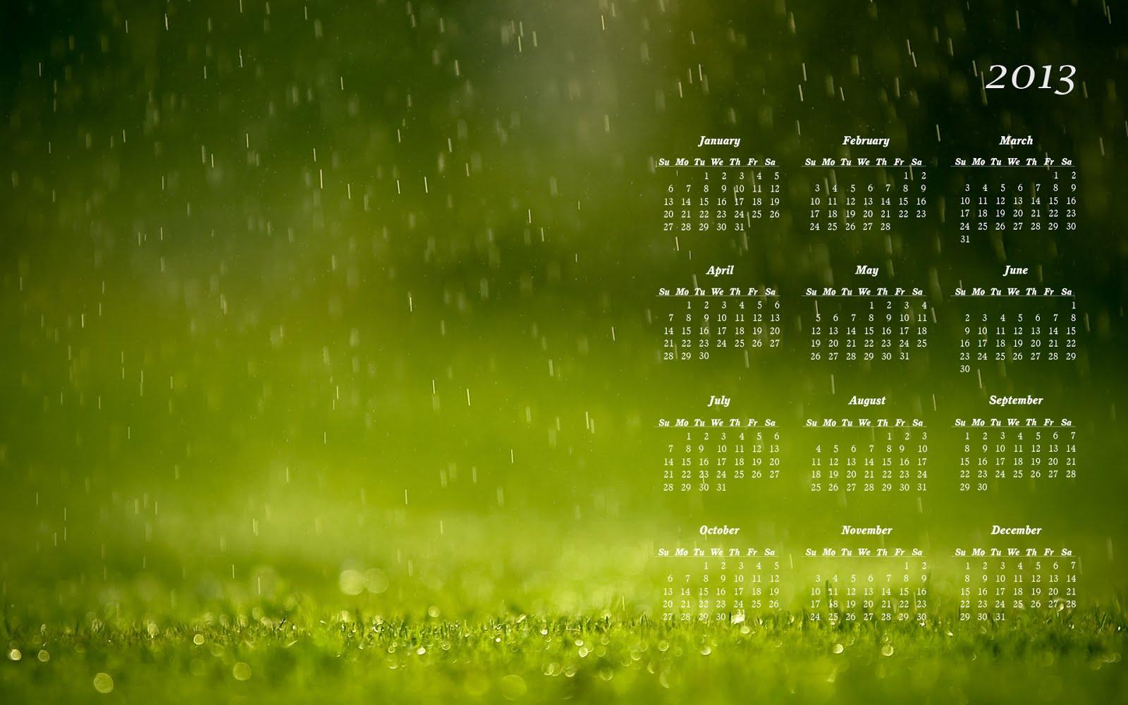 Green 2013 Calendar pc wallpaper HD Wallpaper 1600x1000