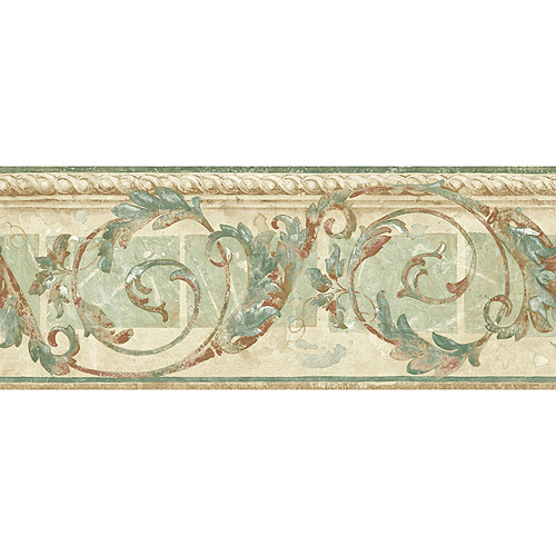 Seaton Scroll Wallpaper Border GreenBeigeBrown   Walmartcom 500x500