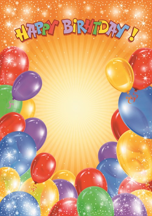 Happy Birthday Colorful Balloons background set 06 vector Vector 500x708