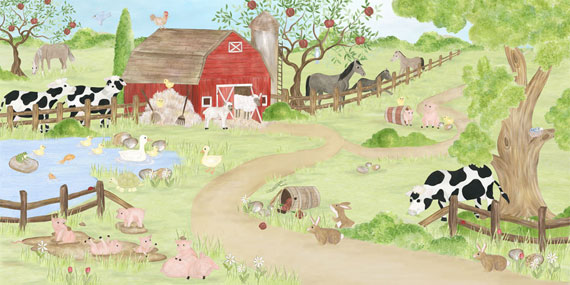 About Fun Farm Theme Wallpaper Murals   Barnyard Animal Wallpaper 570x285