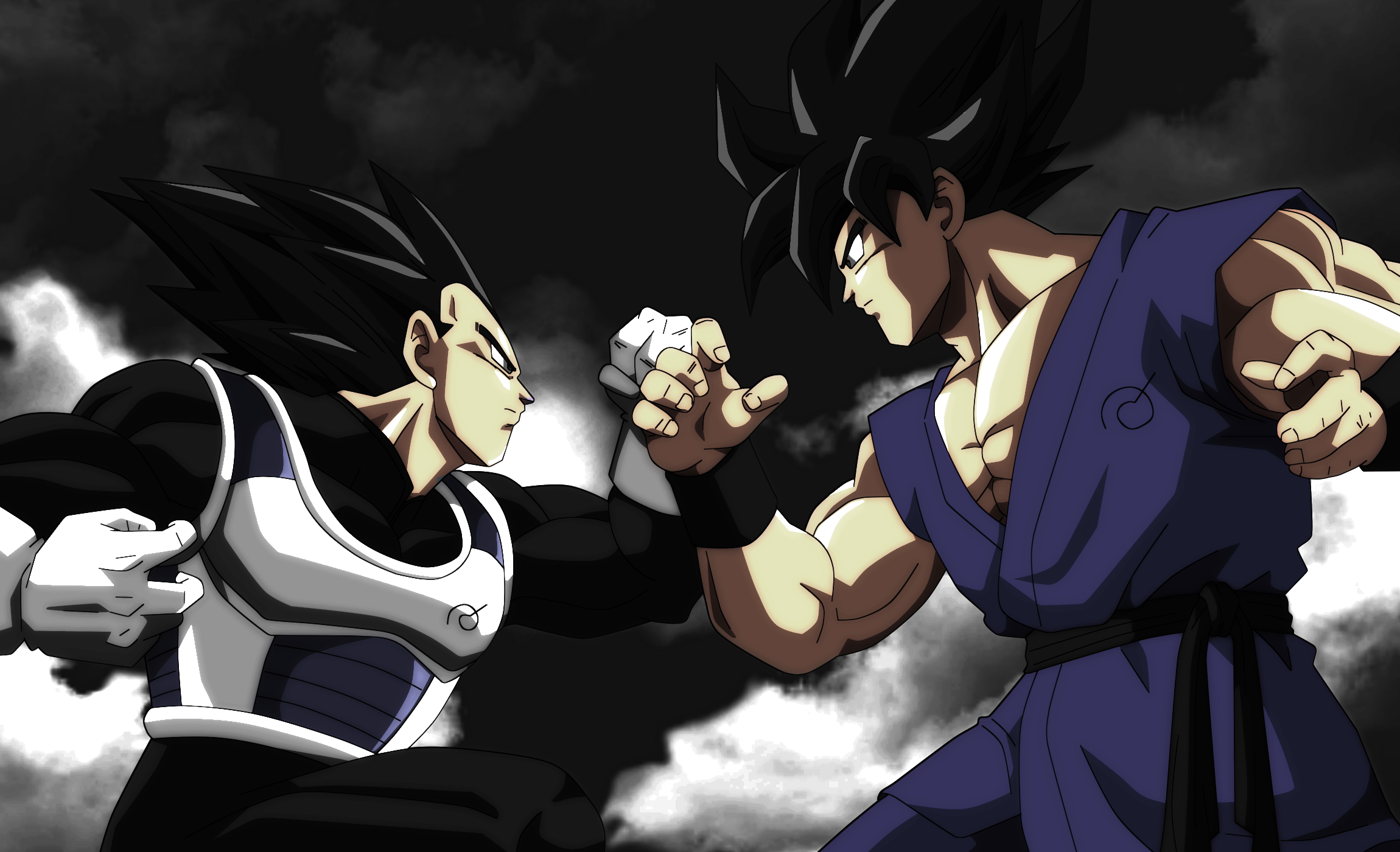 Vegeta Ultra Instinct vs Goku Ultra Instinct by 2300x1400
