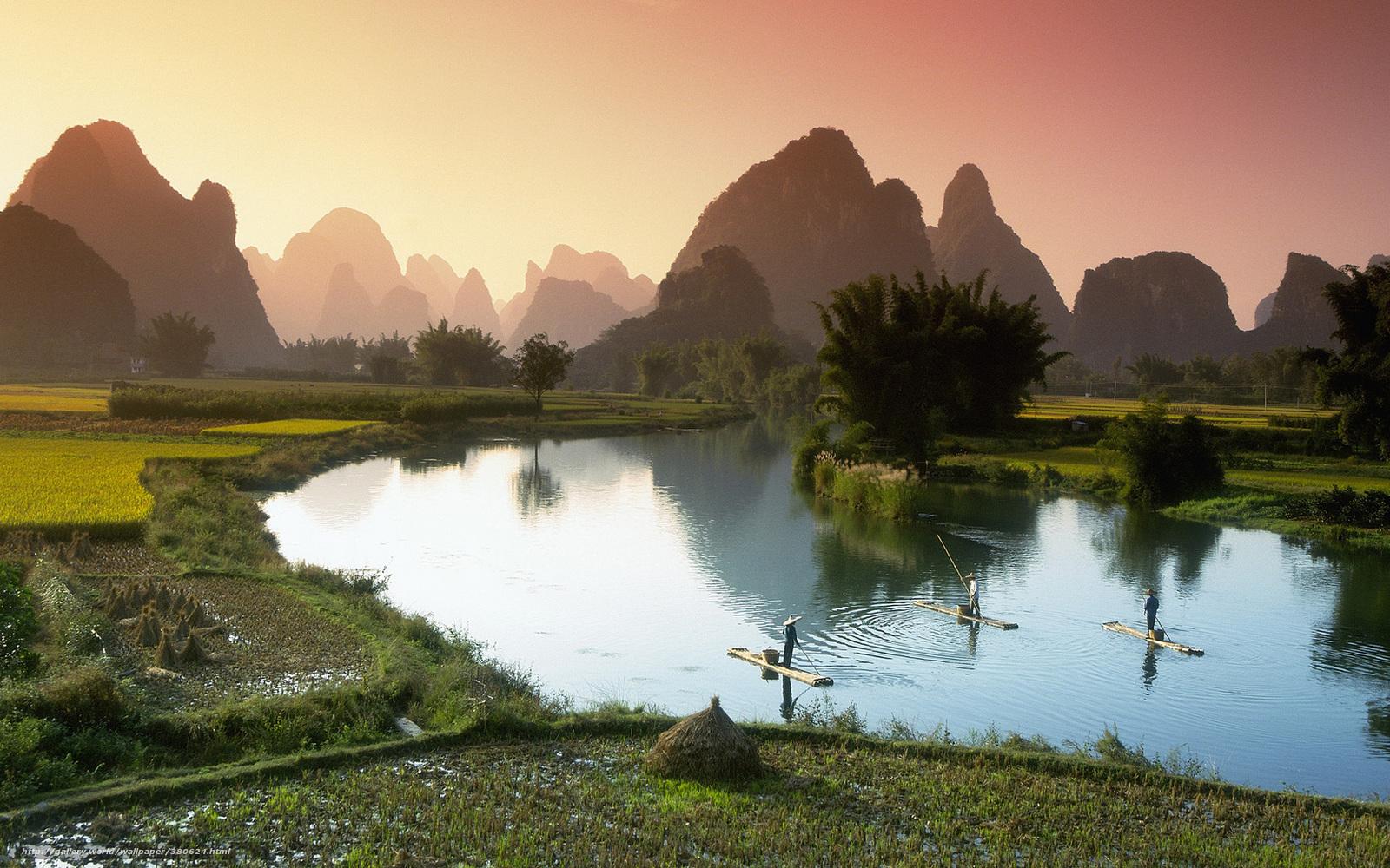 Download wallpaper Vietnam lake Boat desktop wallpaper in the 1600x1000