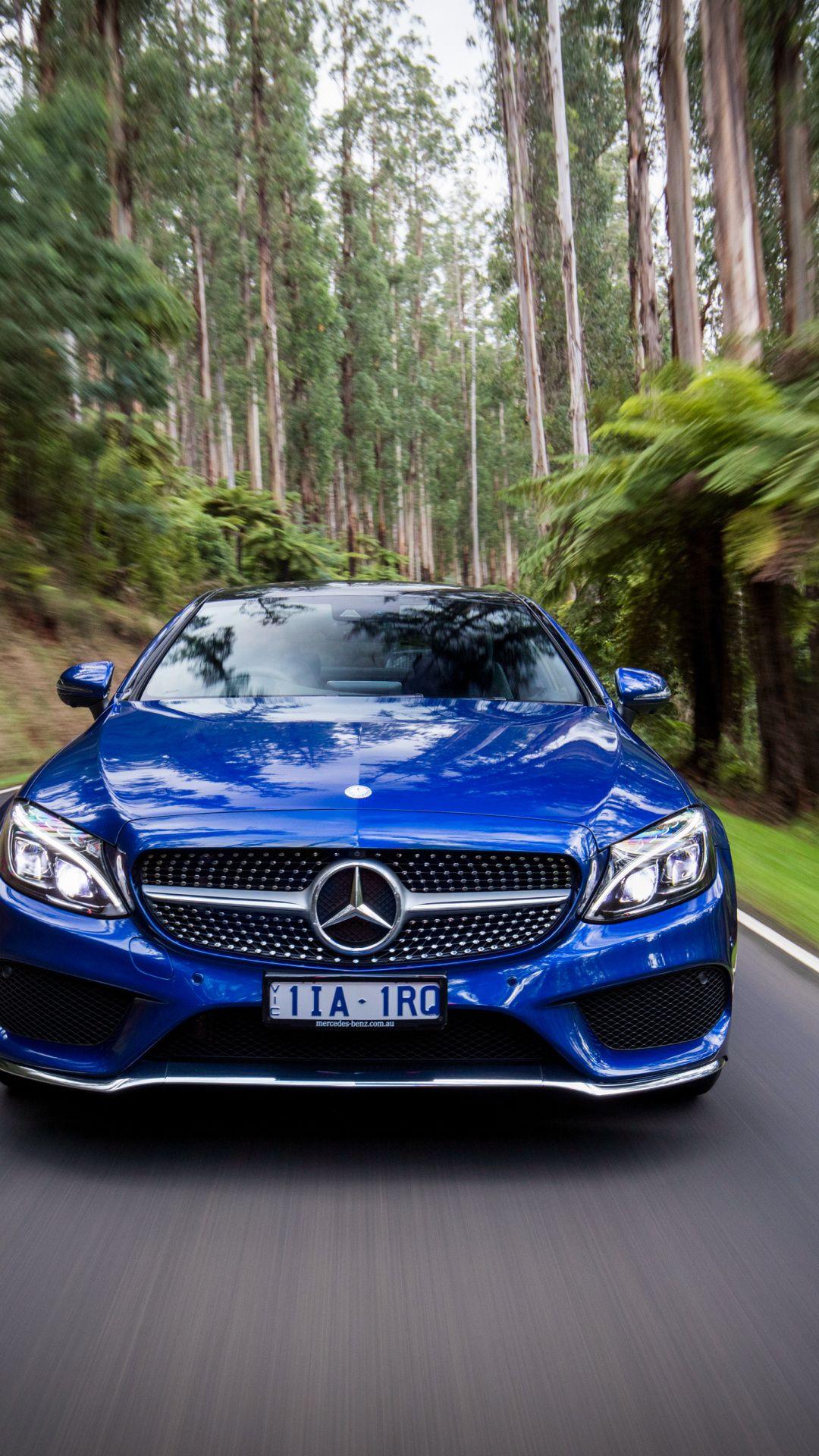Motion blur Mercedes Benz C Class blue 1080x1920 wallpaper 1080x1920