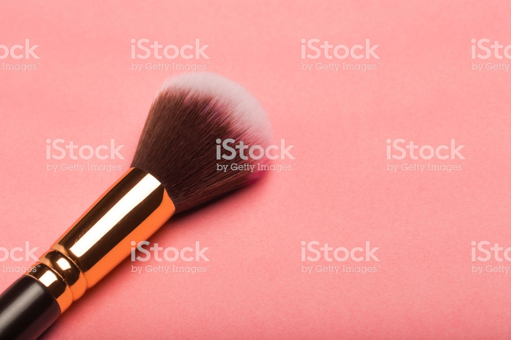 Make Up Brush Rouge Blusher Isolated On Pink Background Stock 1024x682