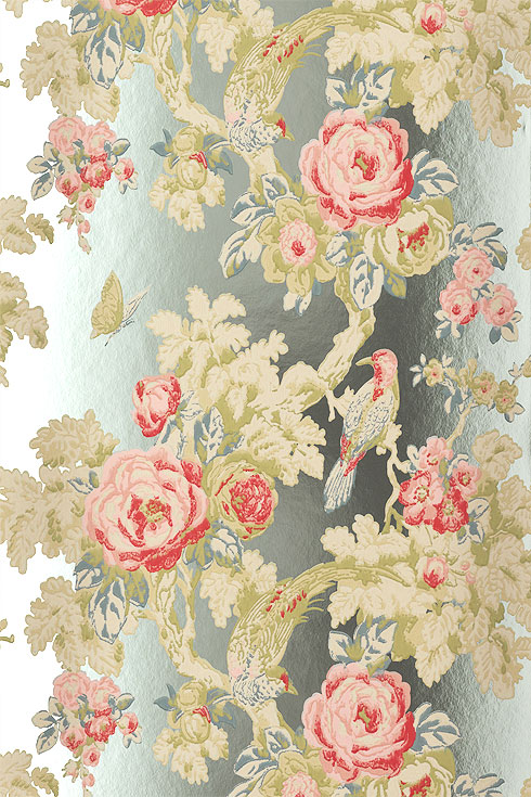 Anna French Wallpapers Wild Flora Bird in the Bush Foil buy online 490x735