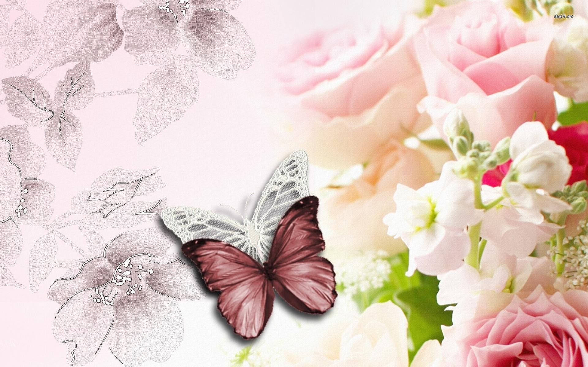 Free Download Flowers And Butterflies Wallpaper Digital Art