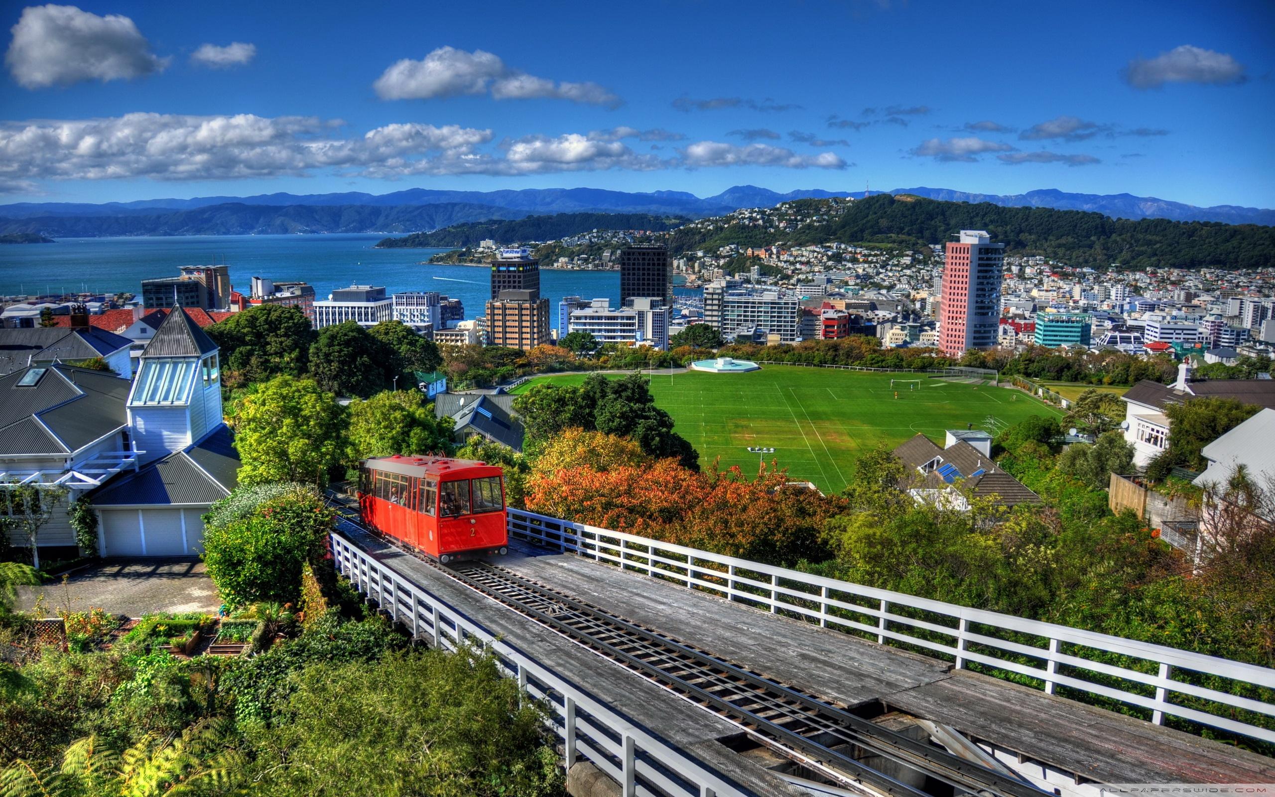 New Zealand Houses Wellington From Above 4K HD Desktop 2560x1600