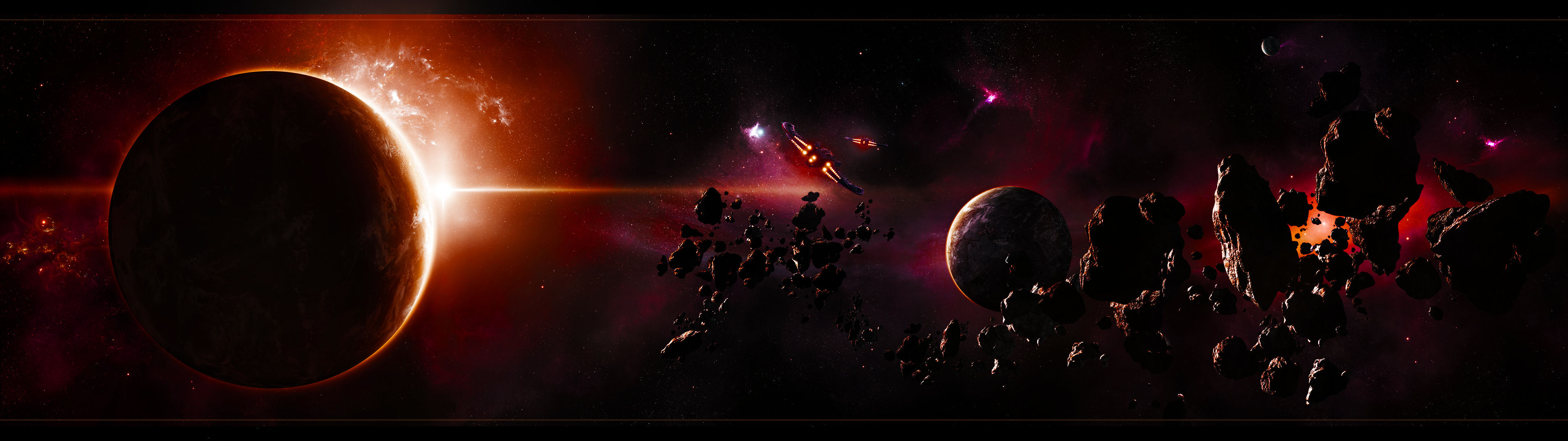 Background image 3840x1080 - Outer Space Planets 1077103